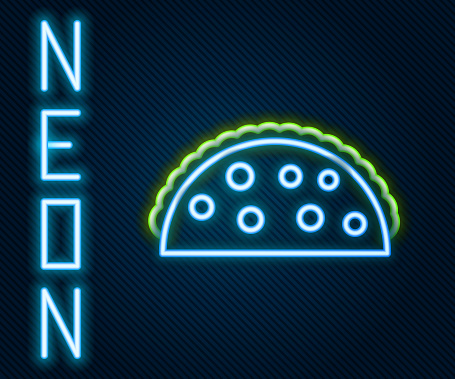 Glowing neon line Taco with tortilla icon isolated on black background. Traditional mexican fast food menu. Colorful outline concept. Vector Illustration