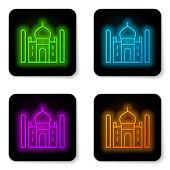 istock Glowing neon line Taj Mahal mausoleum in Agra, Indiaicon isolated on white background. Black square button. Vector 1339690464