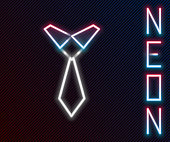istock Glowing neon line Tie icon isolated on black background. Necktie and neckcloth symbol. Colorful outline concept. Vector 1272474294