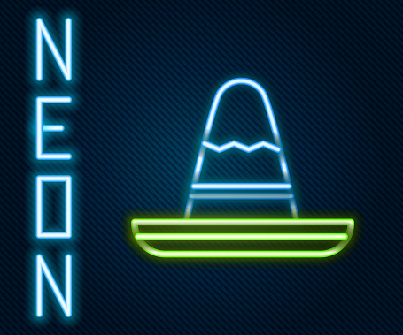 Glowing neon line Traditional mexican sombrero hat icon isolated on black background. Colorful outline concept. Vector Illustration