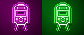 Glowing neon line Tram and railway icon isolated on purple and green background. Public transportation symbol. Vector.