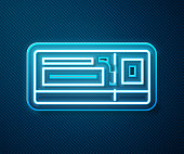 Glowing neon line Travel ticket icon isolated on blue background. Train, ship, plane, tram, bus transport. Travel service concept. Vector Illustration
