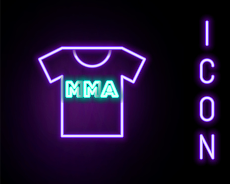 Glowing neon line T-shirt with fight club MMA icon isolated on black background. Mixed martial arts. Colorful outline concept. Vector
