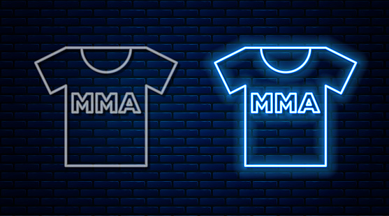 Glowing neon line T-shirt with fight club MMA icon isolated on brick wall background. Mixed martial arts. Vector