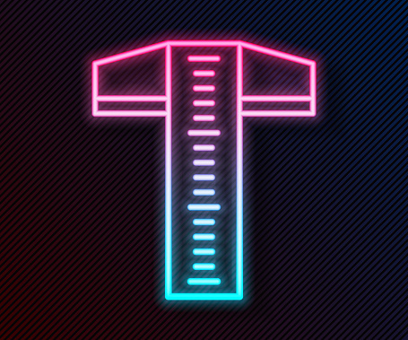 Glowing neon line T-square line for professional drafting icon isolated on black background. Vector Illustration