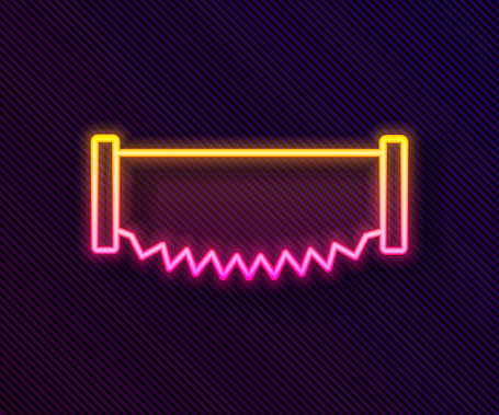 Glowing neon line Two-handed saw icon isolated on black background. Vector