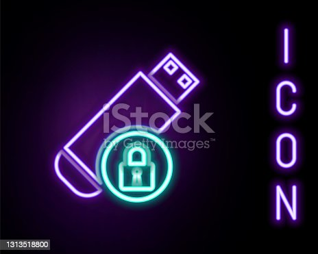 istock Glowing neon line USB flash drive with closed padlock icon isolated on black background. Security, safety, protection concept. Colorful outline concept. Vector 1313518800