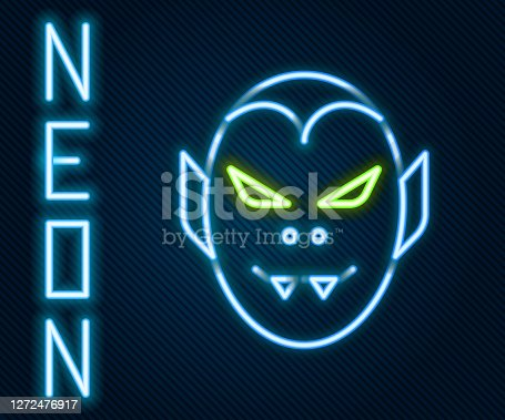 istock Glowing neon line Vampire icon isolated on black background. Happy Halloween party. Colorful outline concept. Vector 1272476917