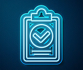 istock Glowing neon line Verification of delivery list clipboard icon isolated on blue background. Vector Illustration 1252477413