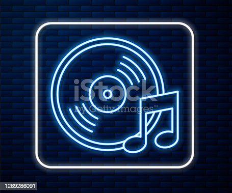 istock Glowing neon line Vinyl disk icon isolated on brick wall background. Vector Illustration 1269286091