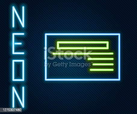 istock Glowing neon line Visiting card, business card icon isolated on black background. Corporate identity template. Colorful outline concept. Vector Illustration 1270307480