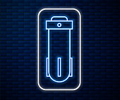 Glowing neon line Water filter icon isolated on brick wall background. System for filtration of water. Reverse osmosis system. Vector Illustration