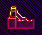 Glowing neon line Water slide with pool icon isolated on black background. Aquapark. Vector.
