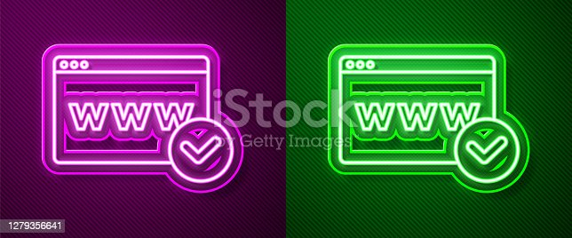 istock Glowing neon line Website template icon isolated on purple and green background. Internet communication protocol. Vector 1279356641