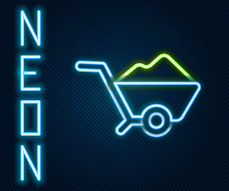 Glowing neon line Wheelbarrow with dirt icon isolated on black background. Tool equipment. Agriculture cart wheel farm. Colorful outline concept. Vector Illustration