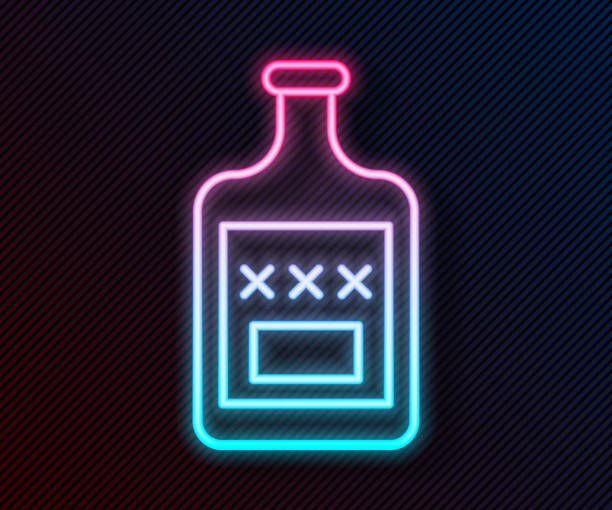 Glowing neon line Whiskey bottle icon isolated on black background. Vector Illustration Glowing neon line Whiskey bottle icon isolated on black background. Vector Illustration alcohol drink clipart stock illustrations
