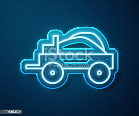 Glowing neon line Wild west covered wagon icon isolated on blue background. Vector Illustration