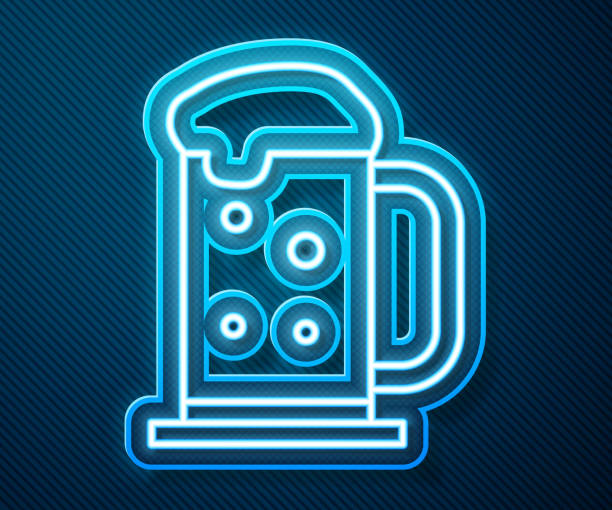 Glowing neon line Wooden beer mug icon isolated on blue background. Vector Illustration Glowing neon line Wooden beer mug icon isolated on blue background. Vector Illustration alcohol drink clipart stock illustrations