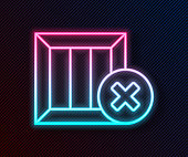 Glowing neon line Wooden box and delete icon isolated on black background. Box, package, parcel sign. Delivery and packaging. Vector Illustration