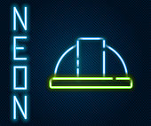 Glowing neon line Worker safety helmet icon isolated on black background. Colorful outline concept. Vector Illustration