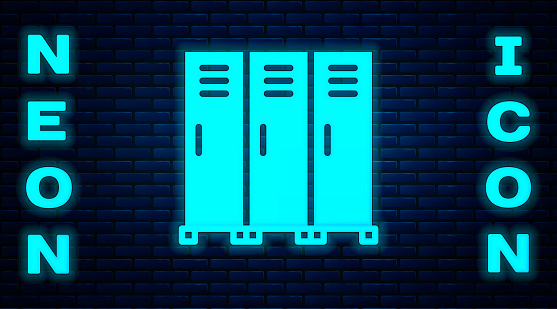 Glowing neon Locker or changing room for hockey, football, basketball team or workers icon isolated on brick wall background. Vector