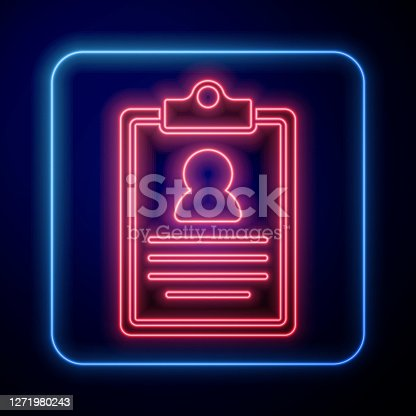 istock Glowing neon Medical clipboard with clinical record icon isolated on blue background. Prescription, medical check marks report. Vector 1271980243