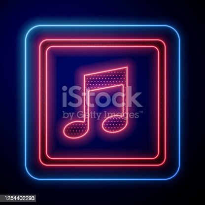 istock Glowing neon Music note, tone icon isolated on blue background. Vector Illustration 1254402293
