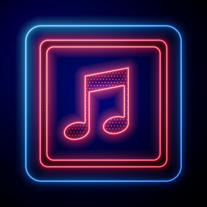 Glowing neon Music note, tone icon isolated on blue background. Vector Illustration