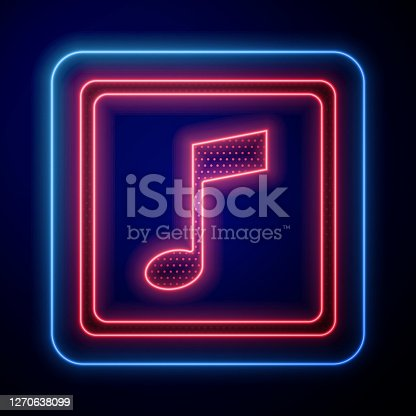 istock Glowing neon Music note, tone icon isolated on blue background. Vector Illustration 1270638099