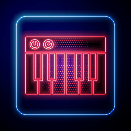 Glowing neon Music synthesizer icon isolated on blue background. Electronic piano. Vector Illustration