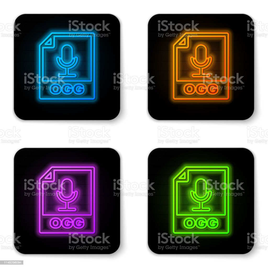 Glowing Neon Ogg File Document Icon Download Ogg Button Icon