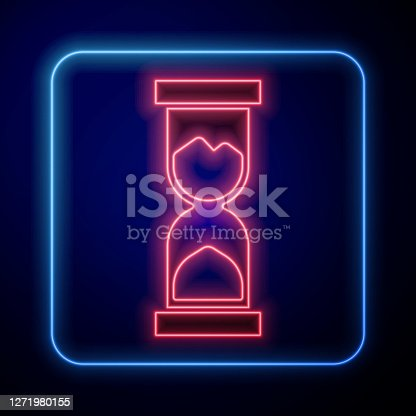Glowing neon Old hourglass with flowing sand icon isolated on blue background. Sand clock sign. Business and time management concept. Vector.