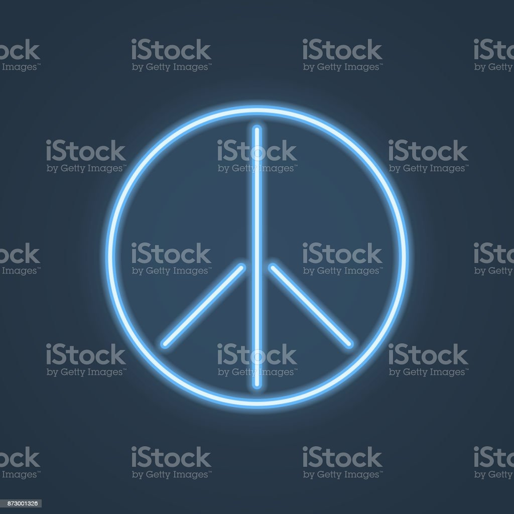 Glowing neon peace sign. Vector illustration. vector art illustration