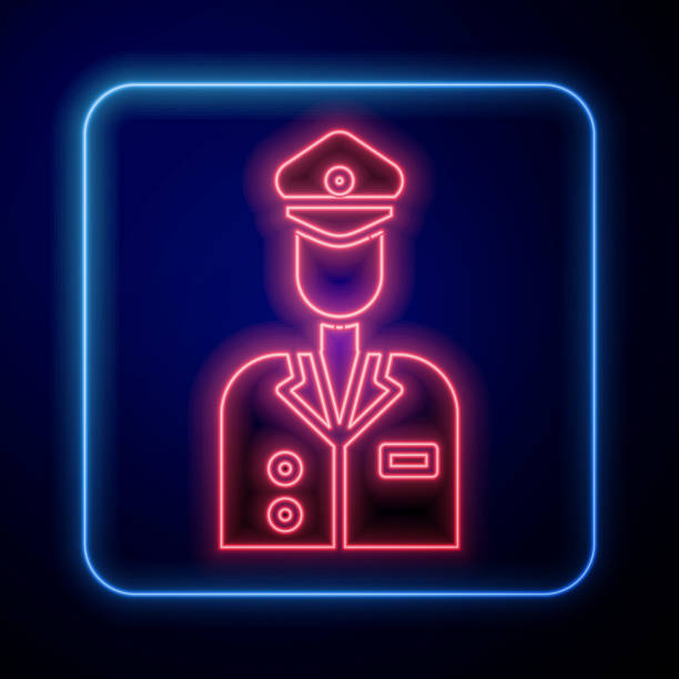Glowing neon Pilot icon isolated on blue background. Vector Illustration Glowing neon Pilot icon isolated on blue background. Vector Illustration one man only stock illustrations
