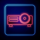 Glowing neon Presentation, movie, film, media projector icon isolated on blue background. Vector Illustration