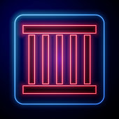 Glowing neon Prison window icon isolated on blue background. Vector Illustration