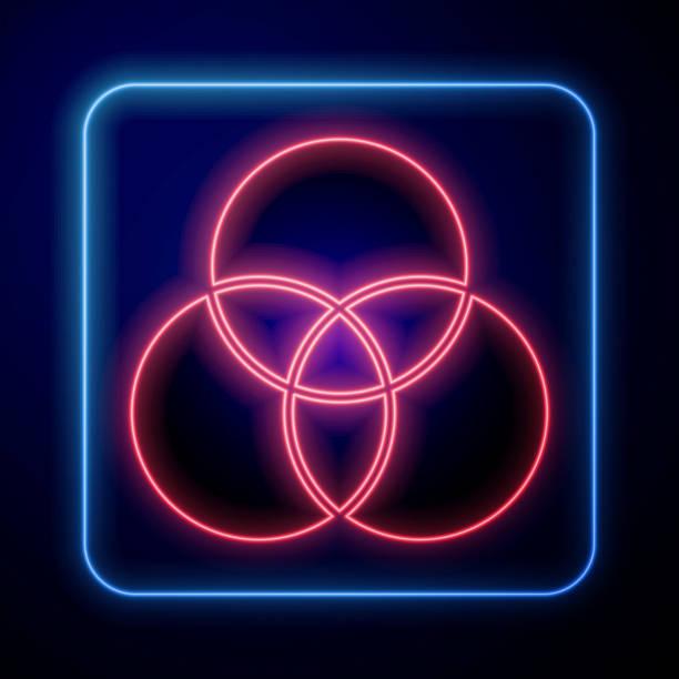 illustrazioni stock, clip art, cartoni animati e icone di tendenza di icona di miscelazione dei colori rgb e cmyk al neon incandescente isolata su sfondo blu. illustrazione vettoriale - huế