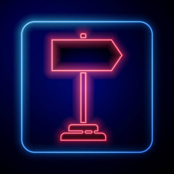 bildbanksillustrationer, clip art samt tecknat material och ikoner med glödande neon vägtrafikskylt. signpostikonen isolerad på blå bakgrund. pekarsymbol. enstaka gatuinformationsskylt. riktningsskylt. vektor illustration - stock arrow