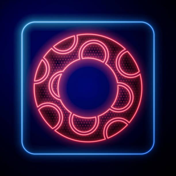 bildbanksillustrationer, clip art samt tecknat material och ikoner med glödande neon gummi simning ring ikon isolerad på blå bakgrund. livräddande flytande livboj för stranden, räddningsbälte för att rädda människor. vektor illustration - inflatable ring