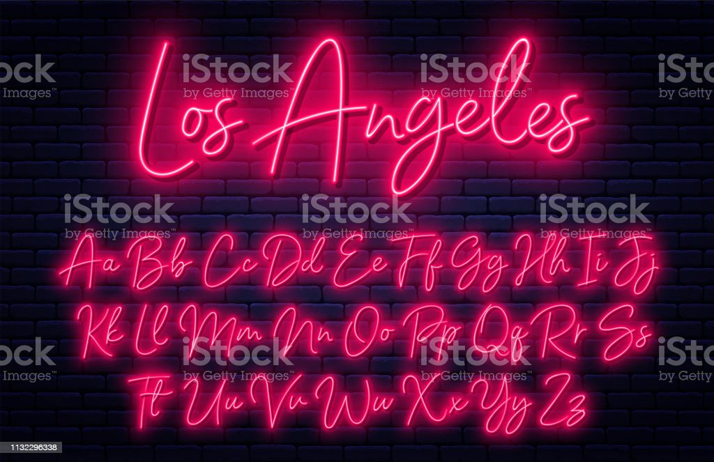Glowing neon script alphabet. Neon font with uppercase and lowercase letters. Handwritten english alphabet royalty-free glowing neon script alphabet neon font with uppercase and lowercase letters handwritten english alphabet stock illustration - download image now