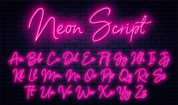 Glowing neon script alphabet. Neon font with uppercase and lowercase letters. Handwritten english alphabet with neon light effect vector art illustration
