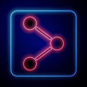 Glowing neon Share icon isolated on blue background. Share, sharing, communication pictogram, social media, connection, network. Vector Illustration