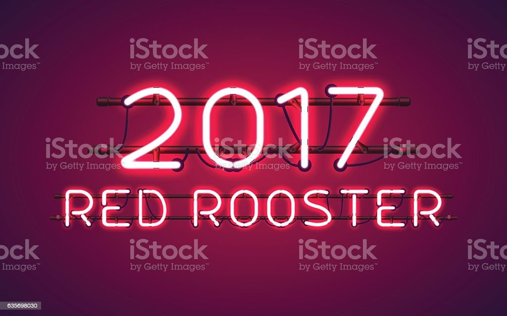 Glowing Neon sign 2017 RED ROOSTER royalty-free glowing neon sign 2017 red rooster stock vector art & more images of 2017