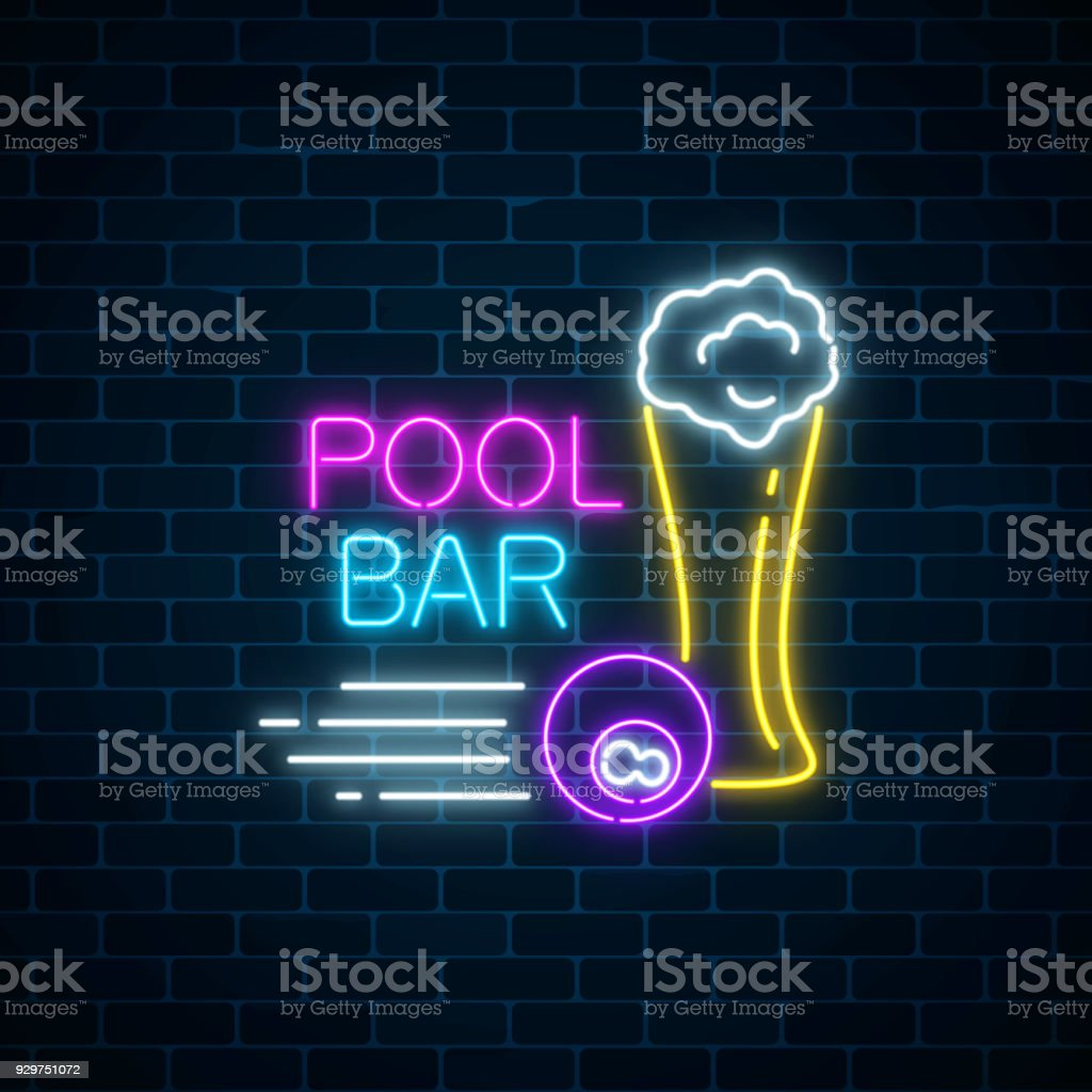 Glowing Neon Sign Of Bar With Pool Including Glass Of Beer And - Neon pool table