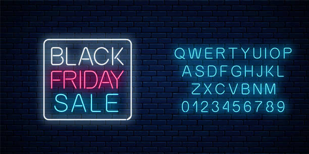 Glowing neon sign of black friday sale with alphabet. Seasonal sale web banner. Black friday signboard Glowing neon sign of black friday sale in rectrangle frame with alphabet on dark brick wall background. Seasonal sale web banner. Vector illustration. Black friday light signboard. black friday sale stock illustrations
