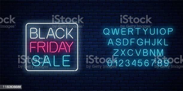 알파벳 블랙 프라이데이 판매의 빛나는 네온 사인 계절 판매 웹 배너입니다 검은 금요일 간판 11월에 대한 스톡 벡터 아트 및 기타 이미지