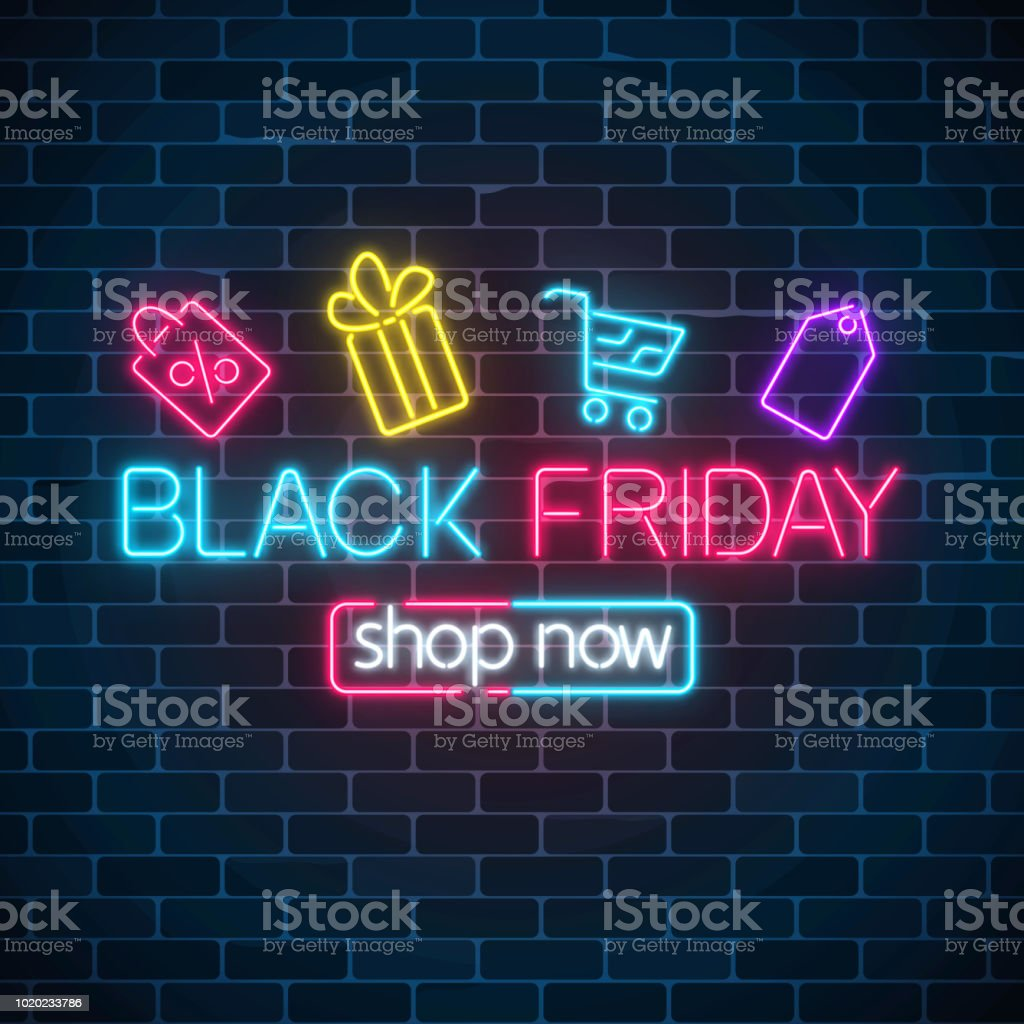 Glowing Neon Sign Of Black Friday Sale With Shopping