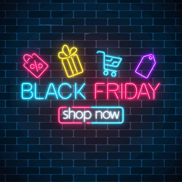 Glowing neon sign of black friday sale with shopping symbols. Seasonal sale web banner. Black friday light signboard. Glowing neon sign of black friday sale with shopping symbols on dark brick wall background. Seasonal sale web banner. Vector illustration. Black friday light signboard. black friday sale neon stock illustrations