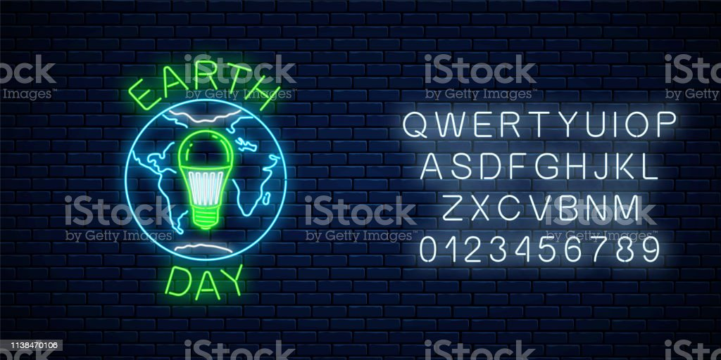 Glowing Neon Sign Of World Earth Day With Globe Symbol And