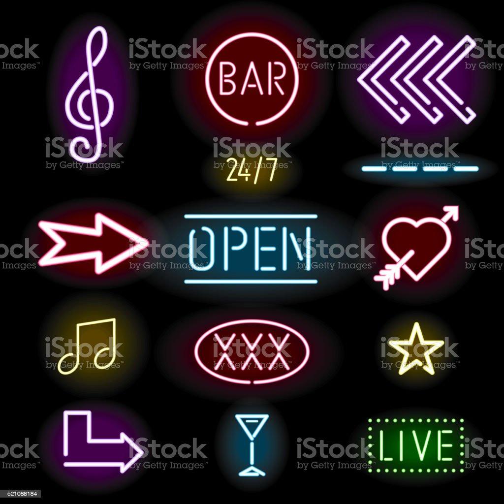 Glowing neon signs, icon set vector art illustration